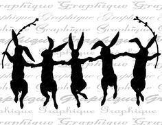 Rabbit Rabbits Dancing Dance Silhouette Holding Hands by Graphique, $1.00