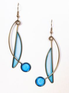 Stainless Steel And Dyed Resin Dangle Earrings In Blue - Handmade Jewelry. $35.00, via Etsy.