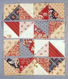 Unit by unit layout photo Quilt Square Patterns, Quilt Block Patterns, Half Square Triangle Quilts, Square Quilt, Small Quilts, Mini Quilts, Quilting Projects, Quilting Designs, Quilt Blocks Easy