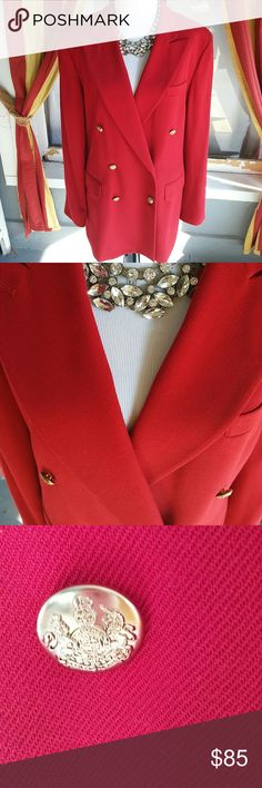 Ralph Lauren women's red blazer This is a stunning classic red blazer by Ralph Lauren all buttons are there when this is a size 14 an excellent used condition. It does have some closet smell so good dry cleaning would be perfect. I could send it out after you purchase wood should take 5 days or I can ship it out to you same day and you can take it to the dry cleaner whatever works best Ralph Lauren Jackets & Coats Blazers