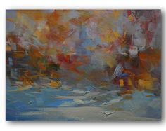 Colourful Abstract Landscape Painting Orange Forest by PysarArt