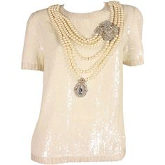 Preowned Vintage Bill Blass Sequined Encrusted Blouse With Trompe... (€1.365) ❤ liked on Polyvore featuring tops, blouses, multiple, pink blouse, pink sequin top, sequin blouse, vintage sequin tops and cream top