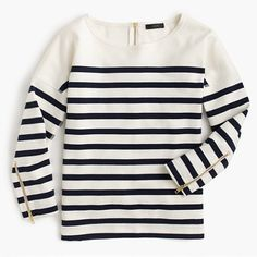 "A classic crewneck sweatshirt made from a structured ponte fabric with some flatteringly placed stripes—so it's now possible to feel comfortable <i>and</i> look super put-together. <ul><li>Slightly loose fit.</li><li>Body length: 24 1/4"".</li><li>Cotton.</li><li>Long sleeves.</li><li>Machine wash.</li><li>Import.</li></ul>"