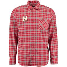 Maryland Terrapins Under Armour Performance Plaid Button-Up Shirt - Red/Gray