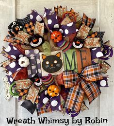 Halloween Wreath, Fall Wreath, Rustic Halloween Wreath, Halloween Cat Wreath, Halloween Welcome Wreath, Halloween Decor, Black Cat Decor Rustic Halloween, Halloween Looks, Halloween Cat, Skeleton Decorations, Halloween Decorations, Halloween Wreaths, Welcome Wreath, Cat Decor, Fall Wreaths