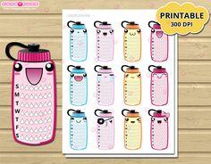 Weekly Hydrate Tracker kawaii Planner Stickers bottle, Side bar Printable…
