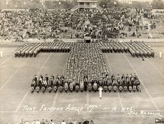 "Famous Aggie ""T"" in formed by the Texas A & M Corps of Cadets in 1945"