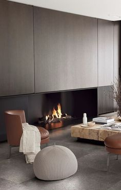 Modern Apartment Design, Modern Interior, Home Interior Design, Interior Architecture, Living Room Colors, Living Room Designs, Living Spaces, Modern Fireplace, Fireplace Design