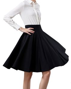 YSJ Women's High Waist Midi Skirt A-Line Pleated Solid Vintage Swing Maxi Skirts ** Learn more by visiting the image link.
