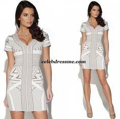 Sexy White Beige Geometric print Bandage Dress Similar style worn by Chloe Sims Kim Kardashian and various celebs 90 Rayon 9 Nylon 1