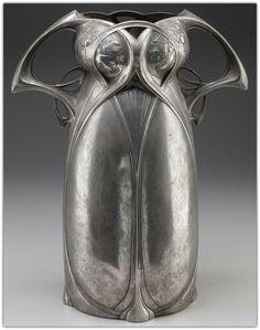 Austrian art nouveau Pewter vase - c.1905.
