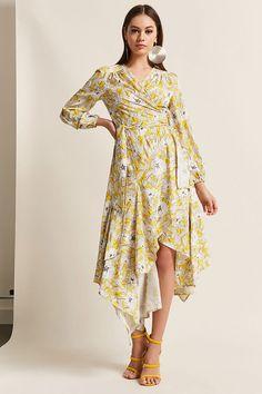 Floral Surplice Wrap Handkerchief Dress