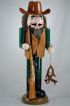 14 Inch Cowboy Deer Hunter with Antlers Wooden Christmas Nutcracker