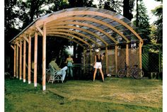 Glulam beams for the structure for this cool carport.