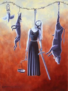 Painting of Lady Justice hanging alongside slaughtered animals, Jo Frederiks… Animal Slaughter, Lady Justice, Vegan Animals, Animal Cruelty, Funny Animal Videos, Animal Welfare, Animal Rights, Going Vegan, Healthy People 2020 Goals