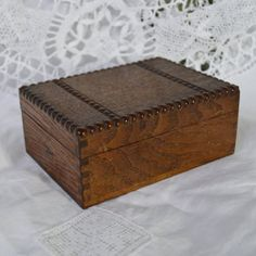 Vintage Wooden Box  Trinkets  Nic Nacs Cards Treasures Dark Oak Wood with Beaded Pattern on Lid  by TeaJay, Vintage  Home Decor  Box  Wooden  Box  Oblong  Tabletop  Trinkets  Playing Cards  Treasure  Uk  Mr Wickstead patterned  Wicksteads  beaded  Dark Oak