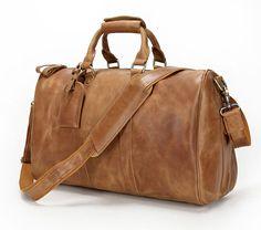"Men's Genuine Leather Cowhide Large Capacity 17"" Travel Luggage Duffle Gym Bags #Leaokuu #DuffleGymBag"