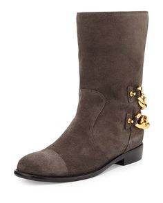 Double+Chain-Back+Suede+Ankle+Boot,+Gray+by+Giuseppe+Zanotti+at+Bergdorf+Goodman.