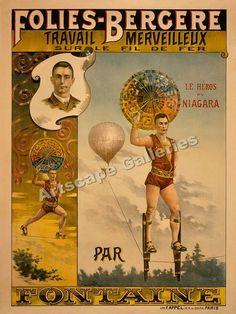 """Le Heros du Niagara"" 1880's French Circus Poster 18x24 | eBay"