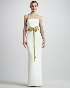 Cord-Waist Strapless Gown by Notte by Marchesa at Neiman Marcus.