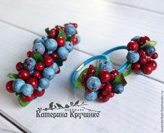 """Купить заколка для волос """"Северная ягода"""" - тёмно-синий, голубика, брусника, ягоды, заколка для волос"""