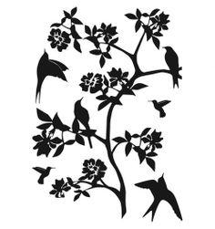 Sticker noir fleur & oiseaux  http://www.deco-et-saveurs.com/3054-sticker-fleurs-paradise.html