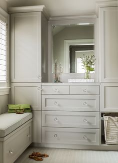Gray Closet Cabinets by Anita Clark Design