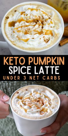 Forget the coffee shop, this Keto Pumpkin Spice Latte is gluten free, refined sugar free and contains less than 3 net carbs each! Drizzle with a little for a decadent low carb latte! #keto #lowcarb #coffee