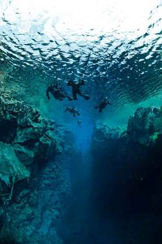 People Diving Underwater At Sea, Ocean, Cave. The sea is incredibly clear, which is ideal for snorkeling. Cave Diving is challenging sport and it is very dangerous and require top skills. Best Scuba Diving, Scuba Diving Gear, Cave Diving, Scuba Destinations, Diver Down, Underwater Caves, Scuba Diving Equipment, All Nature, Underwater Photography