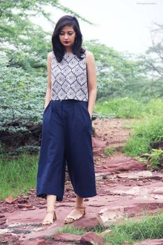 Culottes - The Vagabond Wayfarer Casual Indian Fashion, Indian Fashion Dresses, Dress Indian Style, Indian Designer Outfits, Fall Fashion Outfits, Look Fashion, Fasion, Fashion Women, Simple Kurti Designs