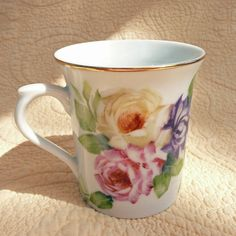 Roses and Mums Gold Rimmed Mug by Chinapainter1 on Etsy, $17.00