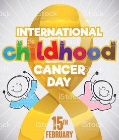Doodle Drawn over Golden Ribbon for International Childhood Cancer Day