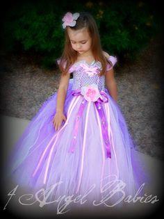 Princess Tangled Rapunzel Tutu Ball Gown Dress