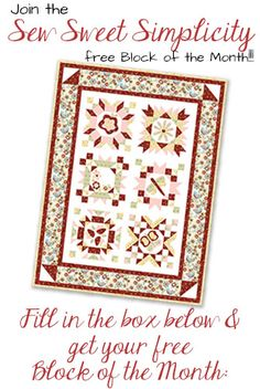 Sew Sweet Simplicity Free Block of the Month- Block 1 is here! | Jacquelynne Steves