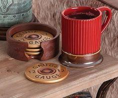 shotgun shell coasters mug