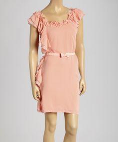 Look at this #zulilyfind! Coral Asymmetrical Ruffle Silk-Blend Dress by Freeway Apparel #zulilyfinds