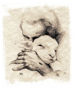 """He shall feed his flock like a shepherd: he shall gather the lambs with his arm, and carry them in his bosom,"" (Isaiah 40:11)"