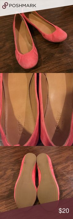 J. Crew Factory Anya Coral Pink Flats Size 8 The J. Crew Anya is my favorite pair of flats. I bought one and slowly started to accumulate a collection. I am selling this pair and my coral ones because I didn't wear nearly as much as my others! While there is fading a marks on the Suede, the inside and bottom sole are still in great condition! The last picture shows the type of fading a marks. Send me your email for more pics! J. Crew Shoes Flats & Loafers