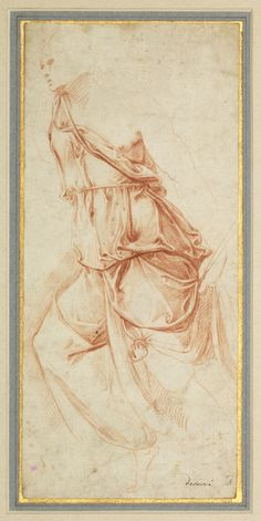 """""""Drapery Study for the Angel of the Annunciation"""", ca. 1553. ca. 1553. Red chalk on dark cream laid paper."""