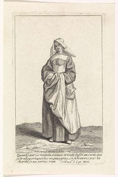 Bernard Picart | Non in eigentijds kostuum, Bernard Picart, 1704 | Figuur in eigentijds kostuum. In de marge een drieregelig Bijbelcitaat uit 1 Kor. 13 in het Frans.
