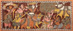 The Cowherd of Vrindavan, Folk Art Kalamkari Painting on CottonArtist - D. Kalamkari Painting, Silk Painting, Watercolor Paintings, Ancient Indian Art, Indian Folk Art, Buddha Sculpture, Green Tara, Buddha Painting, Line Drawing