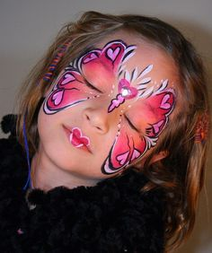 Valentine Face painting by Clash I like the cute mouth Face Painting Images, Animal Face Paintings, Face Painting Designs, Animal Faces, Body Painting, Painting Tutorials, Butterfly Face Paint, Butterfly Mask, Creepy Halloween Makeup