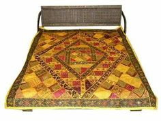 INDIA BANJARA SARI QUEEN BEDSPREADS YELLOW EMBROIDERY COTTON COVERLET TAPESTRY