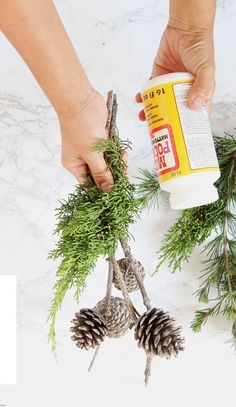 Turn a few pine cones and branches into the most beautiful decorations today! Pr… Turn a few pine cones and branches into the most beautiful decorations today! Practically free and so creative, it only takes 3 minutes! Outside Christmas Decorations, Pine Cone Decorations, Outdoor Christmas, Rustic Christmas, Simple Christmas, Kids Christmas, Table Decorations, Christmas Planters, London Christmas
