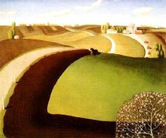 Spring Plowing by Grant Wood (Painting ID: Tim Burton, Grant Wood Paintings, Artist Grants, Oil Painting Gallery, Arts And Crafts Storage, Wood Images, American Gothic, Henri Matisse, American Artists