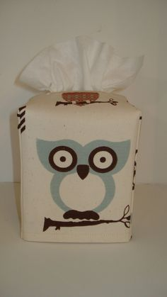 Whimsical Owl Fabric Tissue Box Cover