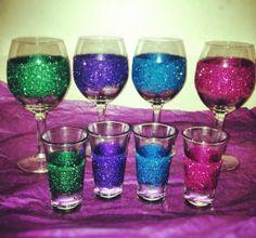 DIY glitter glasses.  any glasses, not just wine or shot glasses