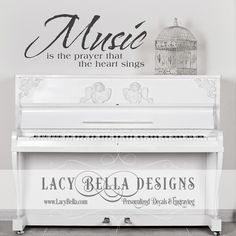 "www.lacybella.com  ""Music Is The Prayer That The Heart Sings"" vinyl lettering home decor wall art decal"