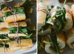 sun-dried tomatoes x arugula x buffalo mozz x pesto tied up in cut up baguettes. easy, pretty, and brings the noms!
