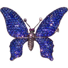 Sapphire Diamond 18K Gold Tremblant Butterfly Brooch Pin